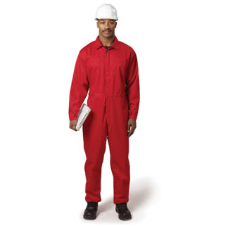man in red coverall