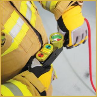 firefighter with deadman controller