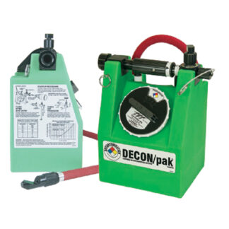 green plastic canister with hose
