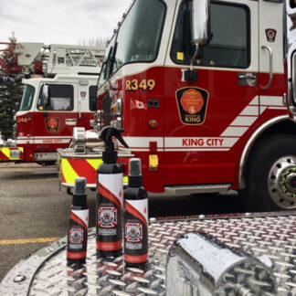 spray bottles in front of fire truck