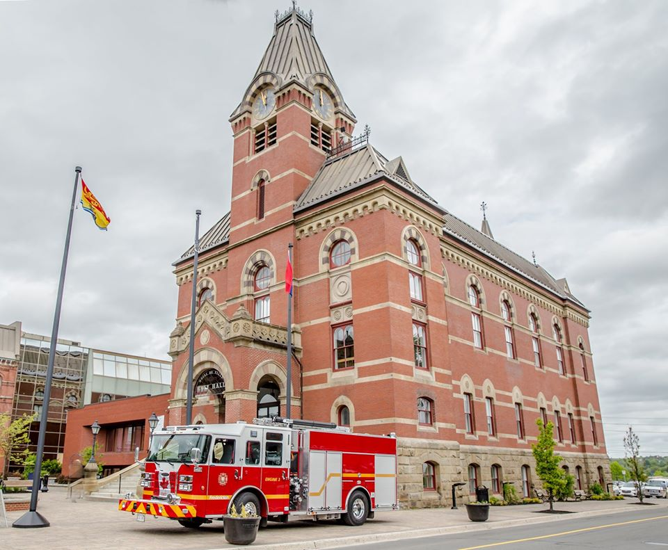 fire truck in front of building